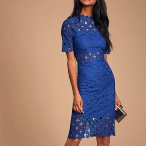 Heartfelt Royal Blue Lace Bodycon Midi Dress